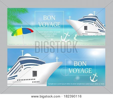 Cruise ship with «Bon Voyage» headline. Set poster or banner template. Transatlantic liner ship anchor. Vector illustration.
