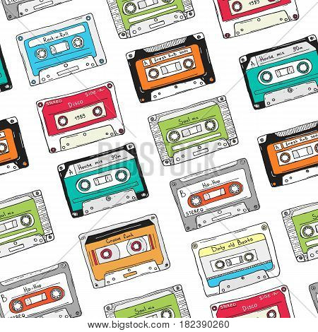 Seamless pattern, plastic cassette, audio tape with different music, Hand drawn colorful background, retro style.
