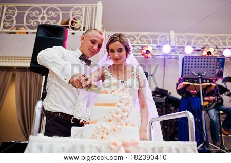 Marriage Couple Cut Their Wedding Cake At Dancefloor.