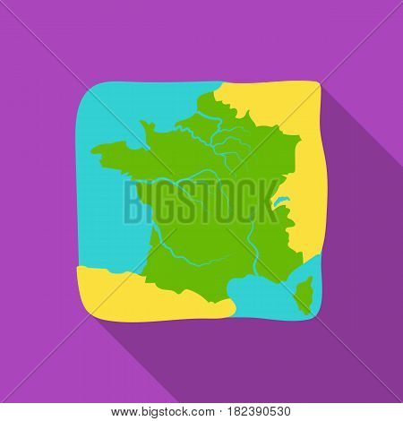 Territory of France icon in flat design isolated on white background. France country symbol stock vector illustration. - stock vector