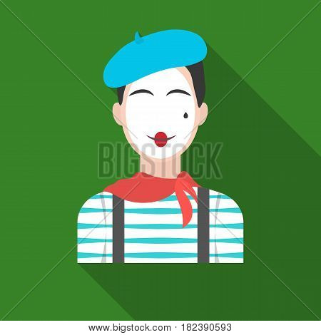 French mime icon in flat design isolated on white background. France country symbol stock vector illustration. - stock vector