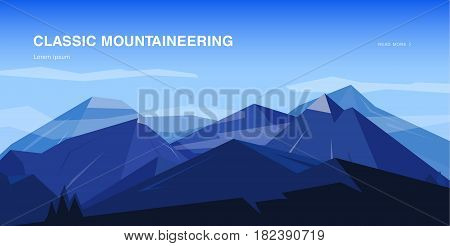 Horizontal background with mountains. Mountaineering colorful illustration, concept with place for text. Banner in cartoon, flat style