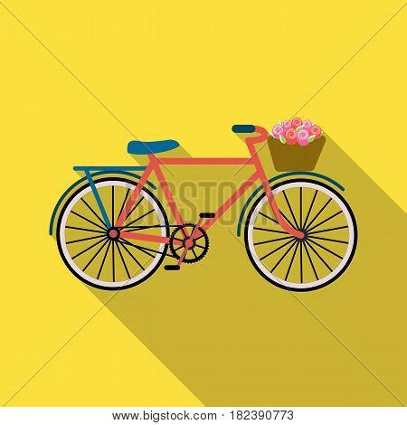 Pink bicycle with basket icon in flat design isolated on white background. France country symbol stock vector illustration. - stock vector