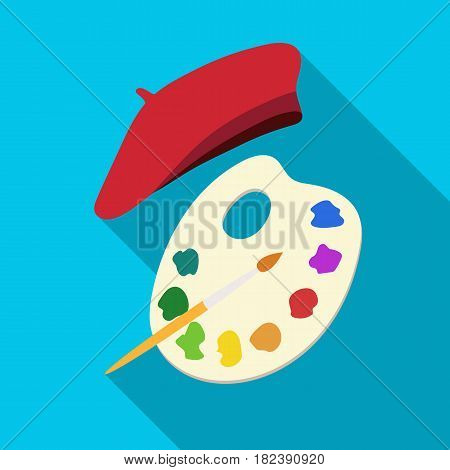 Painting palette and beret icon in flat design isolated on white background. France country symbol stock vector illustration. - stock vector