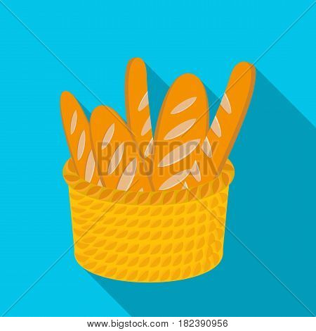 Basket of baguette icon in flat design isolated on white background. France country symbol stock vector illustration. - stock vector