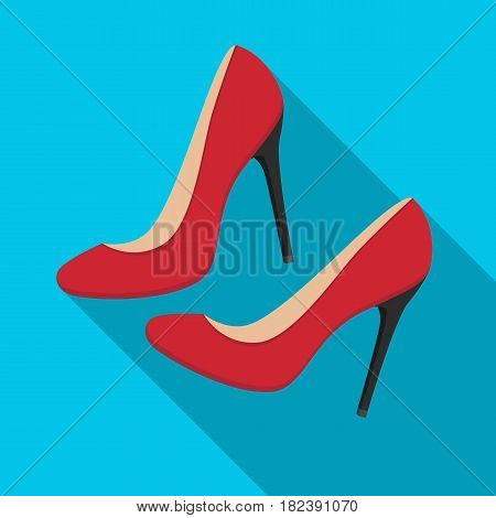 Shoes with stiletto heel icon in flat desgn isolated on white background. France country symbol stock vector illustration. - stock vector