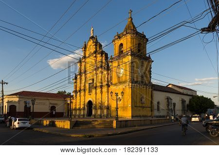 Leon Nicaragua - April 12 2014: The La Recoleccion Church in Leon Nicaragua Central America at sunset