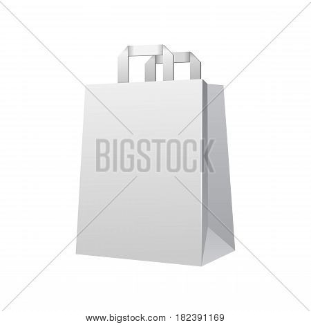 Disposable Paper Or Plastic Shopping Bag With Handles Package Grayscale White. Illustration Isolated On White Background. Mock Up Template Ready For Your Design. Product Packing Vector EPS10