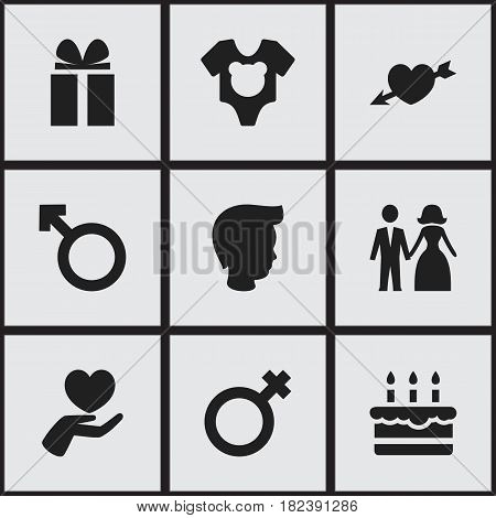 Set Of 9 Editable Relatives Icons. Includes Symbols Such As Bodysuit, Patisserie, Love And More. Can Be Used For Web, Mobile, UI And Infographic Design.