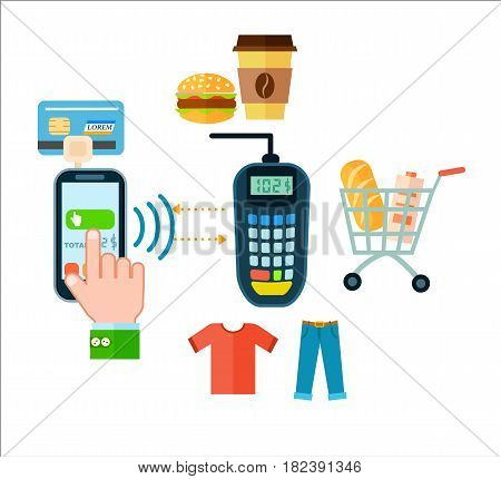 Online food and cloth shopping isolated vector illustration. Mobile payment, money transferring via smartphone apps, online banking, ecommerce