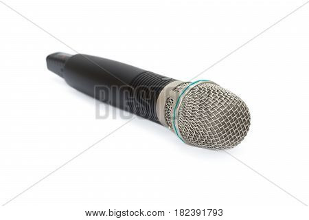 wireless microphone with a black handle on a white background
