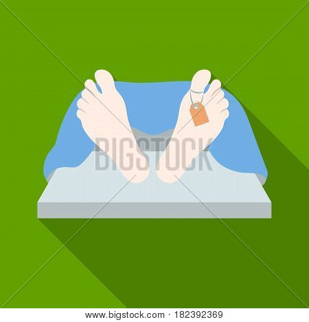 Deceased with tag icon in flat design isolated on white background. Funeral ceremony symbol stock vector illustration.
