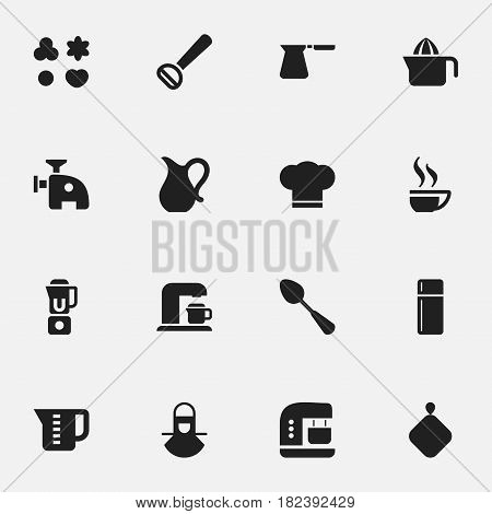Set Of 16 Editable Food Icons. Includes Symbols Such As Refrigerator, Jug, Tablespoon And More. Can Be Used For Web, Mobile, UI And Infographic Design.