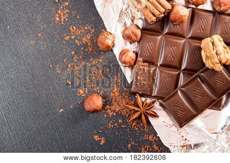 Chocolate Pieces, Filbert, Hazelnut, Chocolate Shavings And Walnuts