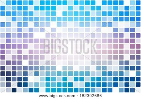 Blue shades pink occasional opacity vector square tiles mosaic over white background