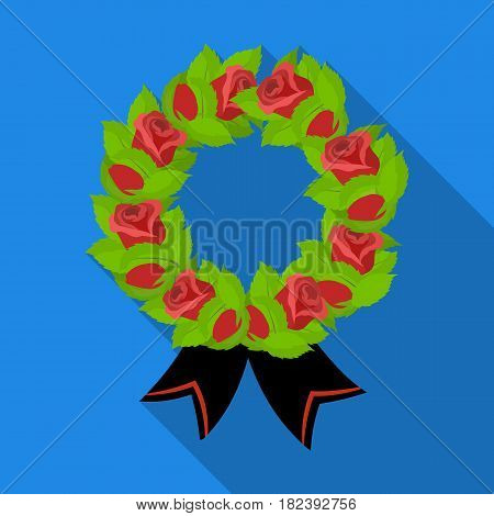 Funeral wreath icon in flat design isolated on white background. Funeral ceremony symbol stock vector illustration.