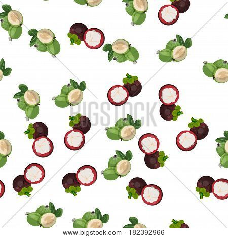 Very high quality original trendy vector seamless pattern with feijoa, mangosteen, exotic tropical fruit