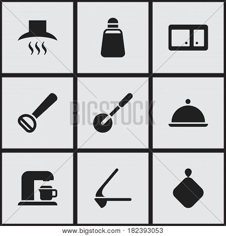 Set Of 9 Editable Cook Icons. Includes Symbols Such As Kitchen Hood, Paprika, Crusher And More. Can Be Used For Web, Mobile, UI And Infographic Design.