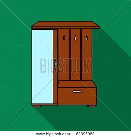 Vestibule wardrobe icon in flat style isolated on white background. Furniture and home interior symbol vector illustration.