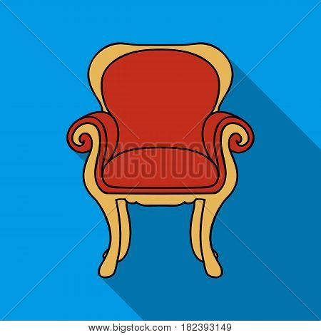Wing-back chair icon in flat style isolated on white background. Furniture and home interior symbol vector illustration.