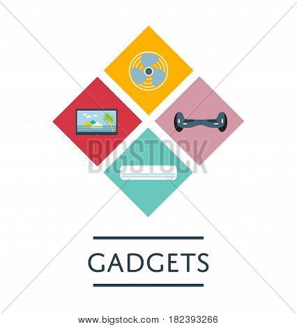 Gadgets store logo or icon set in flat design vector illustration. Shopping advertising, electronics market retail design template. LED TV, gyroscooter, fan and air conditioner isolated symbols.