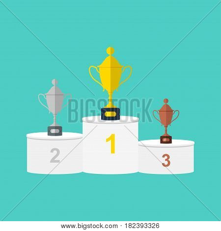 Winners white round podium with gold, silver and bronze trophy cups or prizes in flat style. Vector illustration.
