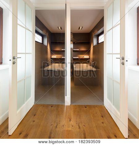 Stylish Hallway With Wood Flooring