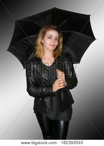 photography with scene of the beautiful girl with black umbrella