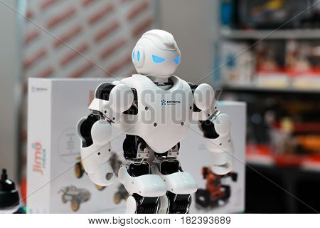 Minsk, Belarus - April 18, 2017: Robot Humanoid Ubtech Aplha 1S On Tibo-2017 The 24Th International