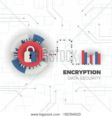 Data encryption and protection. System privacy mechanism. Internet security concept. Vector illustration in flat design.