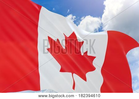 3D Rendering Of Canada Flag Waving On Blue Sky Background