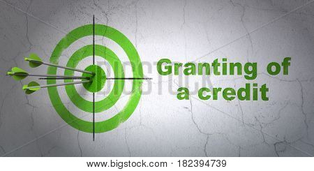 Success banking concept: arrows hitting the center of target, Green Granting of A credit on wall background, 3D rendering