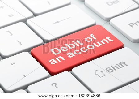 Banking concept: computer keyboard with word Debit of An account, selected focus on enter button background, 3D rendering