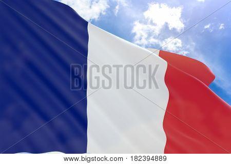 3D Rendering Of France Flag Waving On Blue Sky Background