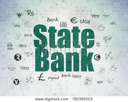 Banking concept: Painted green text State Bank on Digital Data Paper background with  Hand Drawn Finance Icons