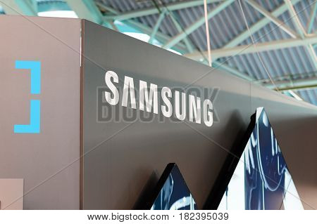 MINSK, BELARUS - April 18, 2017: Samsung stand logo on TIBO-2017 the 24th International Specialized Forum on Telecommunications, Information and Banking Technologies