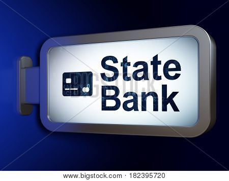 Banking concept: State Bank and Credit Card on advertising billboard background, 3D rendering