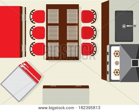 Top view modern kitchen interior element isolated on white background vector illustration. Apartment furniture design with stove, air extractor, table, fridge