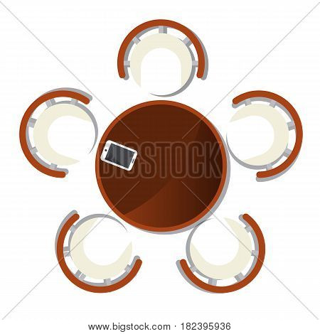 Top view dining room interior with round table element isolated vector illustration. Apartment furniture design with table and chair in flat design