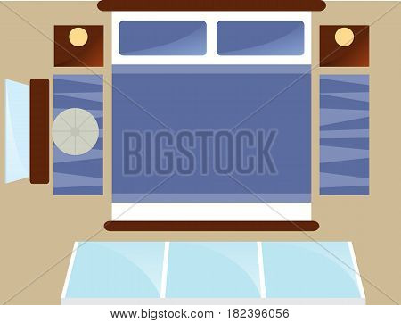 Top view bedroom interior with window isolated vector illustration. Apartment furniture design with bed, mirror, carpet, and bedside table in flat design