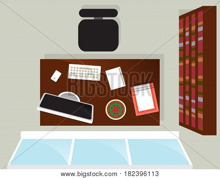 Top view home office interior with window isolated vector illustration. Apartment furniture design with desktop computer, armchair, bookcase, table in flat design