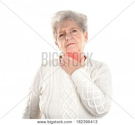 Allergies and sore throat concept. Sick senior woman on white background