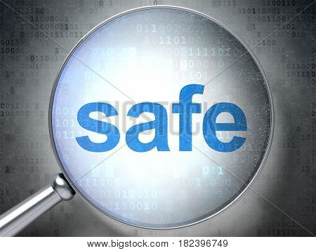 Privacy concept: magnifying optical glass with words Safe on digital background, 3D rendering