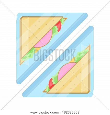 Packaged club sandwich icon vector illustration isolated on white background. Cafe or restaurant fast food snack, vending machine menu pictogram in flat design