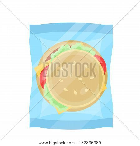 Packaged hamburger icon vector illustration isolated on white background. Cafe or restaurant fast food snack, vending machine menu pictogram in flat design