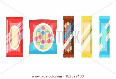 Packaged chocolate bar and candy set vector illustration isolated on white background. Sweet snack, candy store, vending machine menu pictogram.