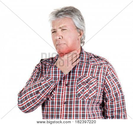 Allergies and sore throat concept. Sick senior man on white background