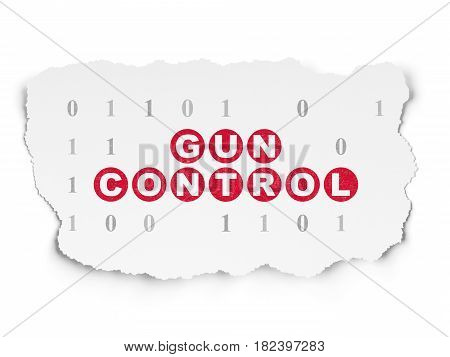 Safety concept: Painted red text Gun Control on Torn Paper background with  Binary Code