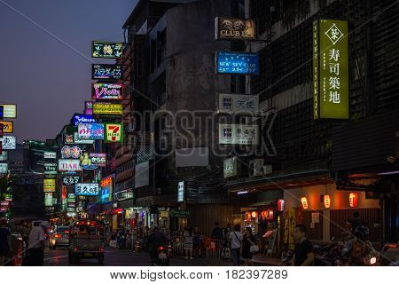 Bangkok Thailand - March 14 2017 : Patpong night market on silom road internationally tourist popular visited to Patpong known as a red light district at the heart of Bangkok's sex industry.