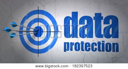 Success privacy concept: arrows hitting the center of target, Blue Data Protection on wall background, 3D rendering